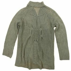 Matty M Wool Blend Crochet Open Front Cardigan